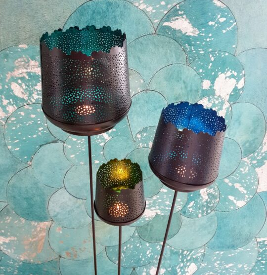 Spiked Candle Votive Set in Turquoise, Green & Blue - unique tealight holders by The Cinnamon Room