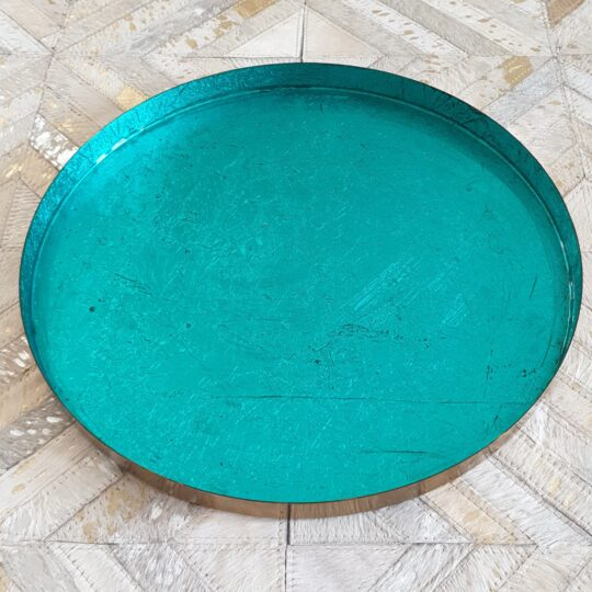 Teal Metallic Round Enamelled Tray - beautiful home accessories by The Cinnamon Room