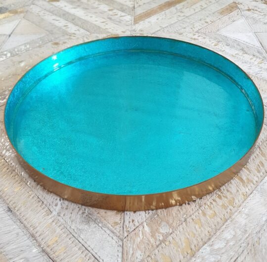 Turquoise Metallic Round Enamelled Tray - Beautiful Homewares by The Cinnamon Room