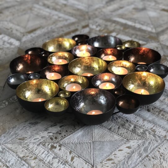 Pewter Champagne Chocolate Tealight Centerpiece - a beautiful home accessory by The Cinnamon Room to add ambient lighting to your next dinner at home