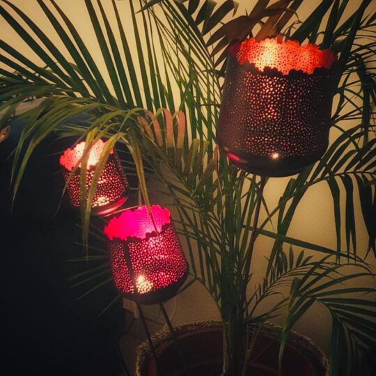 SPIKED CANDLE VOTIVE SET – ORANGE , FUCHSIA & CORAL PINK