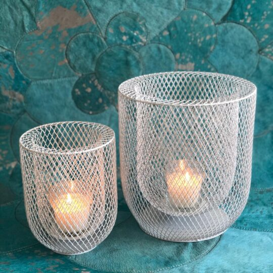 White Netted Pillar Lantern Set - lovely modern lanterns by The Cinnamon Room to add some ambient lighting to your next dinner