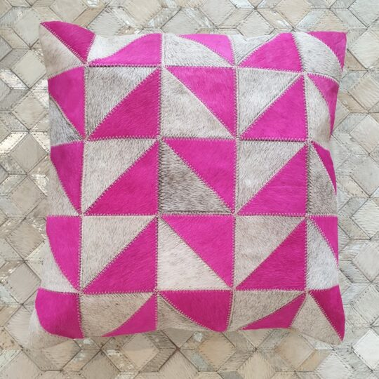 Vibrant Pink Grey Triangle Cushion Cover - colourful cushion covers by The Cinnamon Room