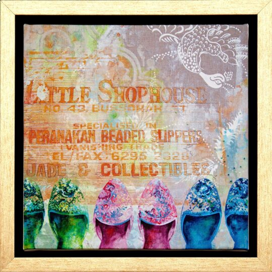 Beaded Slippers Canvas Print by Deborah Mckellar of Talking Textiles