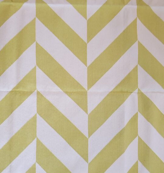 Chevron Lime Green White Cotton Dhurrie Rug - available at The Cinnamon Room