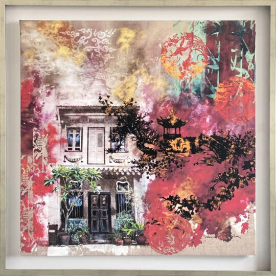 China Red Canvas Print by Deborah Mckellar of Talking Textiles