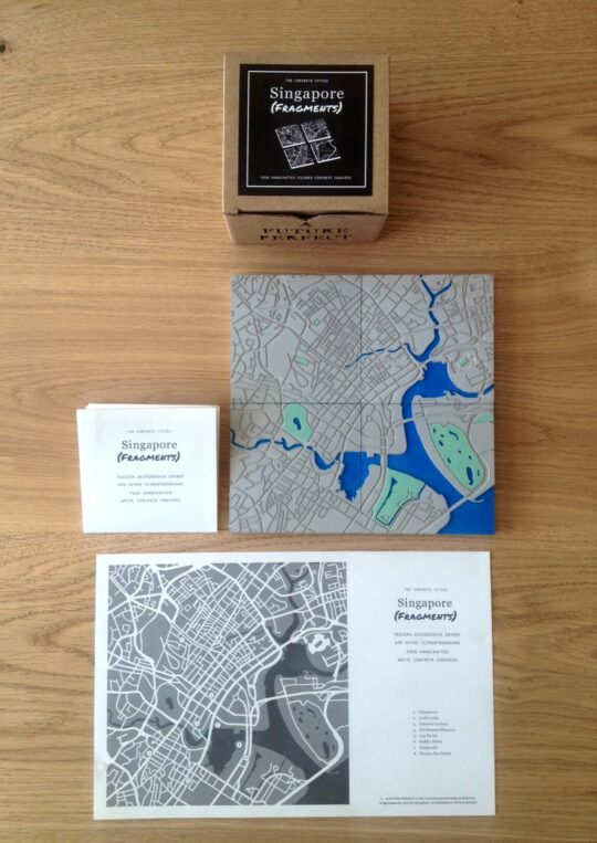 Set of 4 Singapore City Map Cement Coasters with Colors - available at The Cinnamon Room