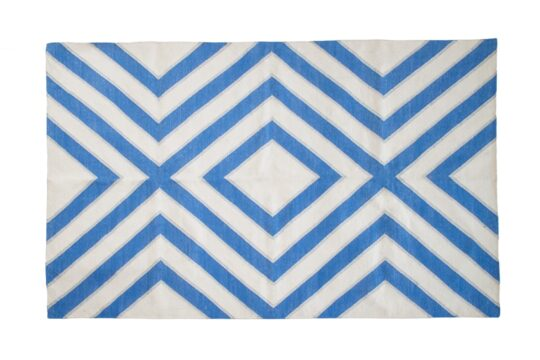 Diamond Blue White Silver Cotton Dhurrie Rug - available at The Cinnamon Room