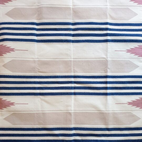 Hacienda Navy White Grey Pink Cotton Dhurrie Rug - available at The Cinnamon Room