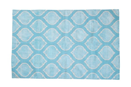 Mogul Turquoise Silver Chenille Cotton Dhurrie Rug - available at The Cinnamon Room