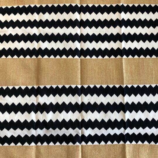Monochrome Chevron and Gold Cotton Dhurrie Rug by The Cinnamon Room