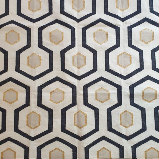 Monochrome Hex and Gold Cotton Dhurrie Rug by The Cinnamon Room