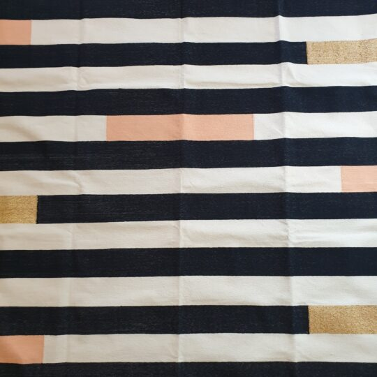 Monochrome Striped Peach Gold Cotton Dhurrie Rug - available at The Cinnamon Room