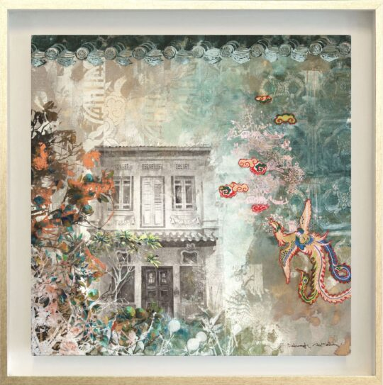 The Pink Pagoda Canvas Print by Deborah Mckellar of Talking Textiles