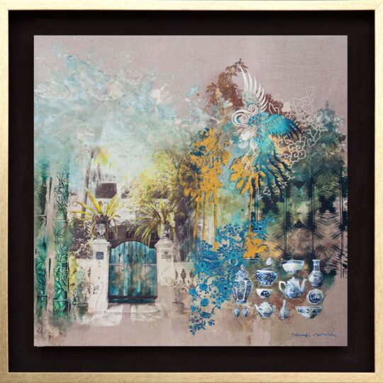 Pottery Jungle Canvas Print by Deborah Mckellar of Talking Textiles