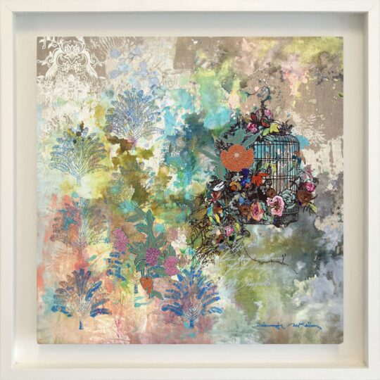 Summer Birdcage Canvas Print by Deborah Mckellar of Talking Textiles
